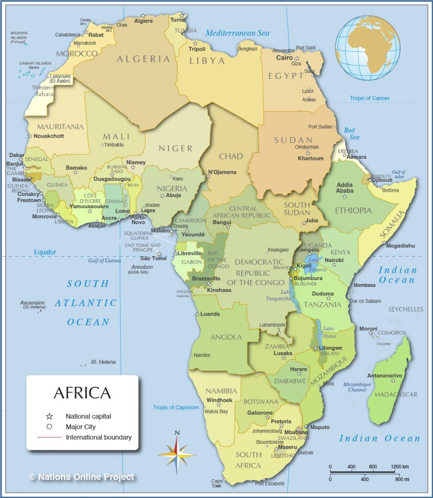 Africa Political Map by Nations Online Project