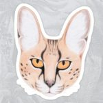African Serval Cat Sticker for Kids